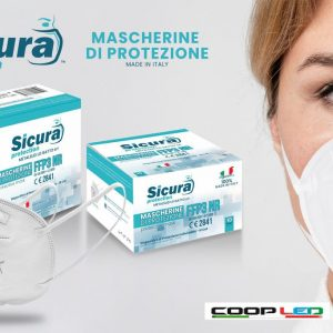 Mascherina Protettiva Filtrante Monouso con Fattore di Protezione Certificato FFP3 in TNT Multistrato