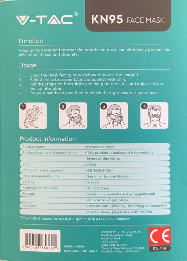 V-TAC Mascherina FFP2 - K95 (confezione da 20 Pezzi)