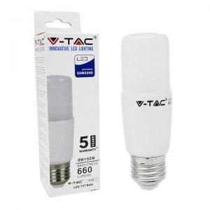 Lampadina LED E27 8W Luce Fredda 6400K Tubolare T37