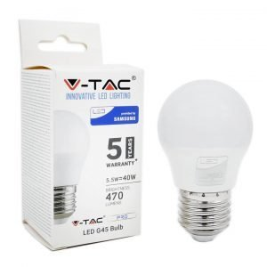 Lampadina LED E27 5,5W Luce Calda 3000K MiniGlobo G45 Chip Samsung