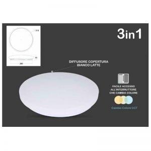 Plafoniera a LED 18W Luce Calda-Naturale-Fredda (selezionabile tramite interruttore)