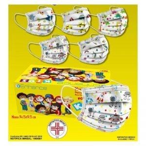 50 Mascherine Chirurgiche per Bambini Monouso Filtranti con Fantasia Bimbo in TNT 3 Strati