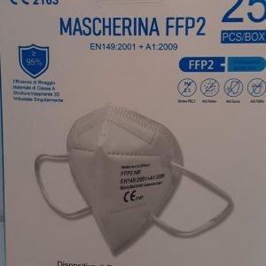 25 Mascherine Filtranti Multistrato Monouso con Fattore Classe di Protezione Certificato FFP2 NR in TNT Colore Bianco