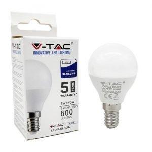 Lampada LED E14 7W Luce Naturale Equivalente a 45W Tipo MiniGlobo