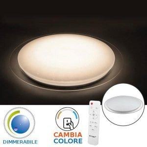 Plafoniera 3IN1 LED 20W / 40W Circolare Effetto Cielo Stellato Tricolor Con Telecomando