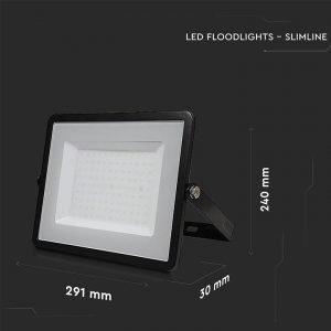 Faro LED SMD 100W Ultrasottile Luce Fredda Chip SAMSUNG Cornice Nera