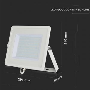 Faro LED SMD 100W Ultrasottile Luce Naturale Chip SAMSUNG Cornice Bianca