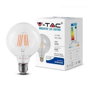 Lampadina LED E27 6W Globo G125 Luce Naturale Filamento Extra-Lungo