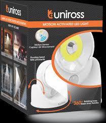 Uniross Luce LED COB 5W con Sensori di Movimento e Base Ruotabile di 360° IP54 a Batterie AA