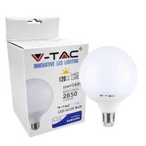 Lampada LED E27 22W Globo   Luce Calda G120