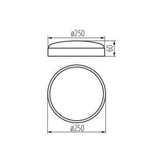 plafoniera da Interno 15w Luce Naturale 1280Lumen Diametro 250mm