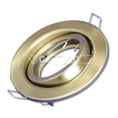 Porta Faretto in Metallo Orientabile Satinato Rotondo da Incasso per Lampade GU10 e GU5.3