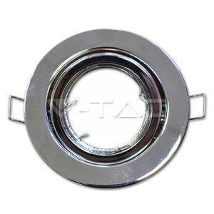 Porta Faretto in Metallo Orientabile Cromato Rotondo da Incasso per Lampade GU10 e GU5.3