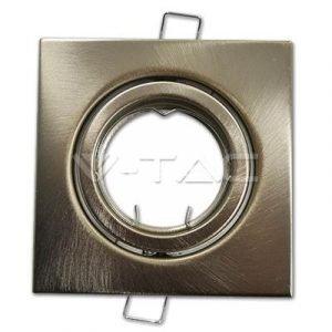 Faretto in Metallo Orientabile Satinato Quadrato da Incasso per Lampade GU10 e GU5.3