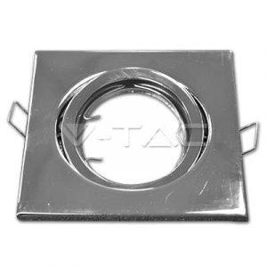 Faretto in Metallo Orientabile Cromato Quadrato da Incasso per Lampade GU10 e GU5.3