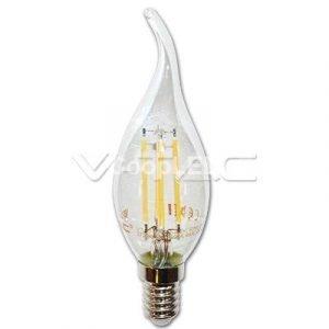 Lampada LED Filament E14 4W Luce Calda in Vetro Trasparente